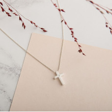 Small Solid Cross Necklace With Tiny Diamond At Centre