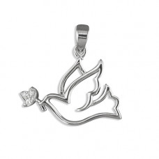 Silver Dove With CZ Necklace