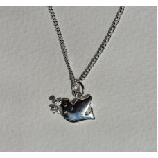 Silver Dove With Olive Branch Necklace