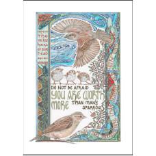 Lindisfarne Scriptorium More Than Sparrows  A4 Print Unframed