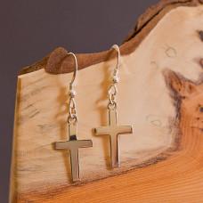 Cross Shaped Silver Earrings