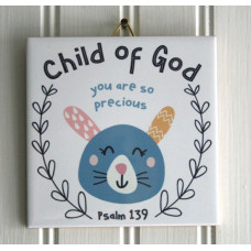 Child Of God You Are So Precious Rabbit Hanging Tile