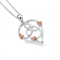 Celtic Heart With Rose Gold Plated Leaves Necklace
