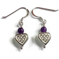 Hanging Celtic Heart Earrings With Purple Stone