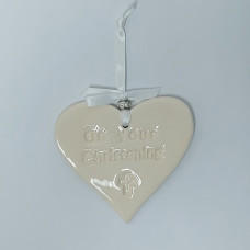 White Ceramic Christening Heart With Cross