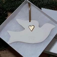Ceramic Dove JOY With Gold Heart