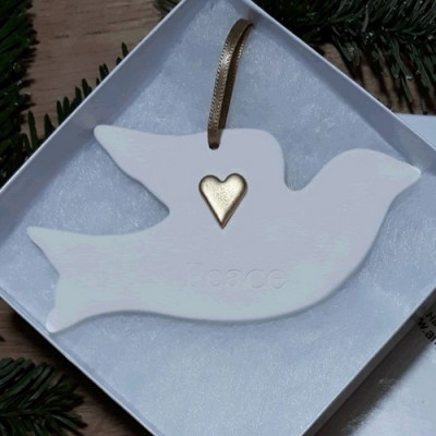 Ceramic Dove PEACE With Gold Heart