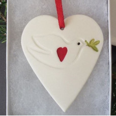 Ceramic Dove Decoration With Olive Branch