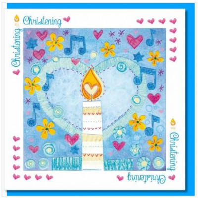 Christening Card Candle And Heart