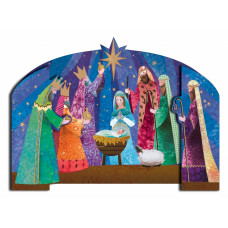 Christmas Cards 10 Pack Jewel Nativity