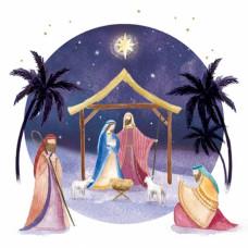 Christmas Cards 10 Purple Nativity