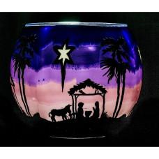 Colourful Glass Nativity Tealight Holder