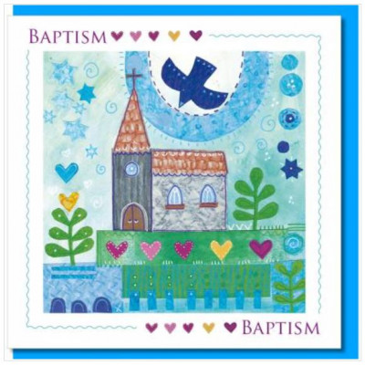 Church And Dove Baptism Greetings Card