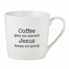 Coffee Get Me Started Jesus Keeps Me Going Cafe Style Mug