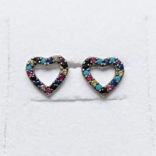 Coloured Cubic Zirconia Heart Stud Earrings