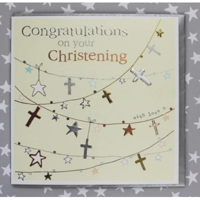 Congratulations On Your Christening Card - Cross Bunting