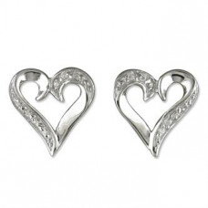 Contoured Heart Earrings With Cubic Zirconia