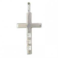 Cross With Three Cubic Zirconia Necklace