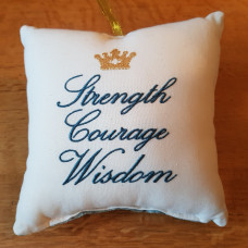 Embroidered Cushion - Strength Courage Wisdom