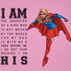 Daughter Of The King Superhero Pink Canvas Plaque