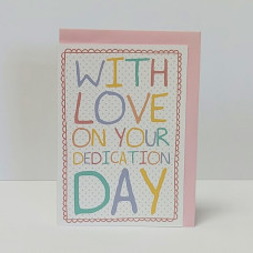 Spotty Dedication/Pink A6 Greetings Card