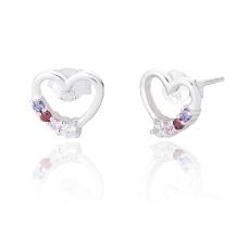 Silver Rainbow Heart Shaped Earrings