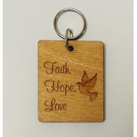 Faith Hope Love Wooden Keyring