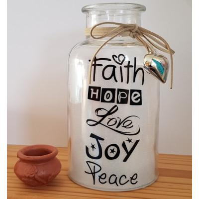 Glass Jar With LED - Faith Hope Love