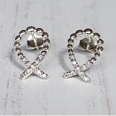 Ichthus Fish Stud Earrings With Cubic Zirconia