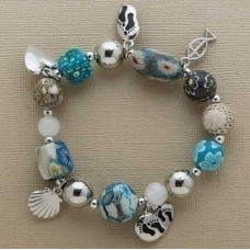 Footprints Clay Bead Bracelet