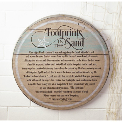 Footprints Barrel Plaque