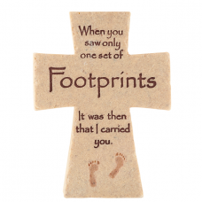 Footprints Poem Ceramic Cross