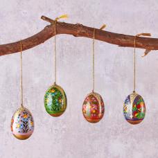 Set Of Four Kashmir Floral Hanging Eggs