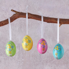 Set Of Four Floral Cross Hanging Easter Eggs