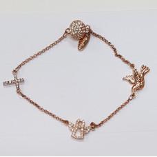 Dove Cross Angel Stainless Steel Bracelet Rose Gold Plated