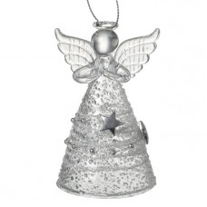 Glass Angel With Silver Star Skirt