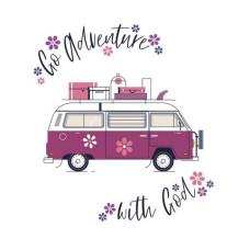 "Go Adventure With God Floral Camper Van Print 6"" x 4"""