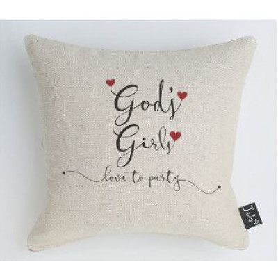 God's Girls Love To Party Cushion - Red Hearts