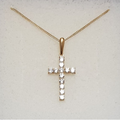 Gold And Cubic Zirconia Cross
