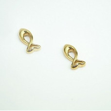 Gold Plated Ichthus Fish Stud Earrings