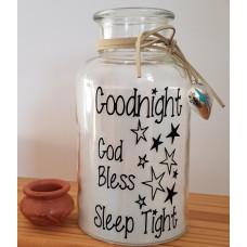 Glass Jar With LED - Goodnight God Bless Sleep Tight