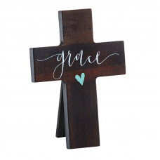 Wooden Calligraphy Mini Cross Grace