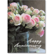 Happy Anniversary Pink Roses Card