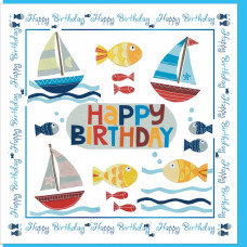 Happy Birthday Fishing Boats Card - No Bible Verse