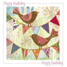 Happy Birthday Card Birds And Bunting No Verse