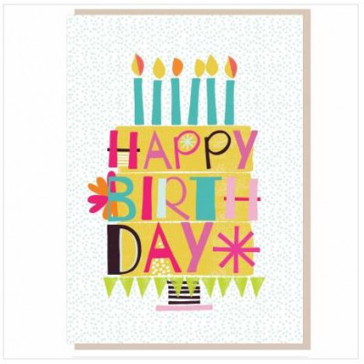 Happy Birthday Cake and Candles Card