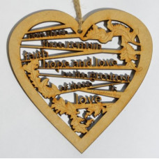 Faith Hope Love Laser Cut Wooden Heart