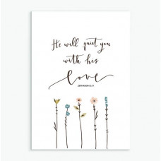 He Will Quiet You A6 Greetings Card
