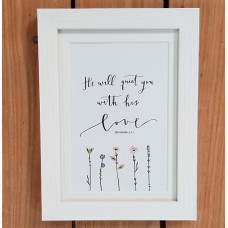 He Will Quiet You Framed Print