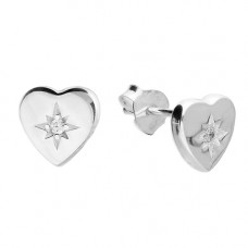 Heart Earring Studs With Cubic Zirconia And Diamond Cut Star